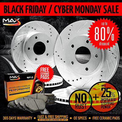 [Front+Rear] SILVER Slotted Drilled Rotors & Ceramic Pads Lexus IS250