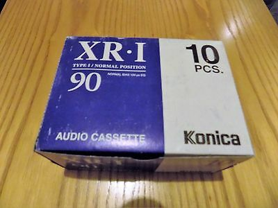 Box Of 10 Konica Xr I New Sealed 90 Minute Blank Audio Cassettes Type I Normal