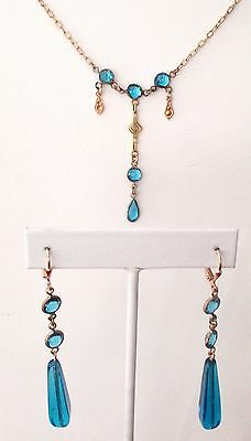 Antique Turquoise Crystal Bead Necklace & Earrings Set