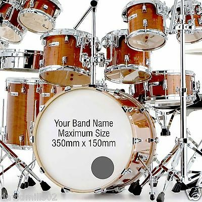 Vinyl Logos Names Decals Stickers for Band Bass Drums 350mm x 150mm
