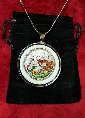 Chinese Zodiac Year of the Dragon Silver Coin Pendant + Case, Chain,Clasp.