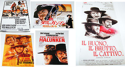 5 - miniature CLINT EASTWOOD movie posters GOOD BAD UGLY Japan USA Germany REPRO