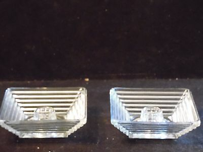 "Pair Clear Glass 4"" Circle Bottom Square Candle Holder Manhattan Anchor Hocking"