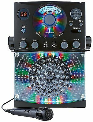 Singing Machine Bluetooth Karaoke System with LED Disco Lights Microphone Black