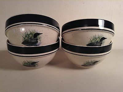 Folkcraft Stoneware Loon Lake 4 Soup Cereal Bowls