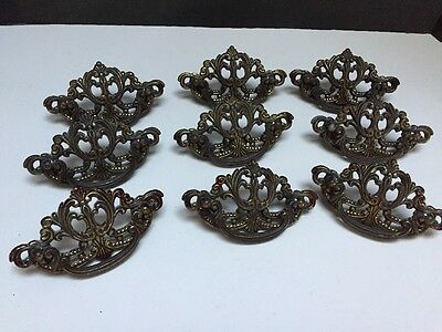 9 Vintage Solid Brass Bronze Rococo Victorian Drawer Pulls Handles Ornate Scroll