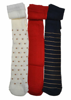 3 pairs of Cream, Red & Navy Design Baby Tights  6-12 months