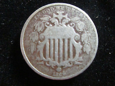 1866 Shield Nickle With Rays 5 Cent Coin