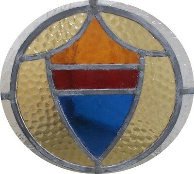 British/English Art Deco Coat of Arms Shield Antique Leaded Stained Glass Window