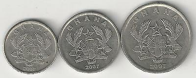 3 DIFFERENT COINS from GHANA - 5, 10 & 20 PESEWAS (ALL DATING 2007)