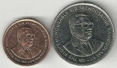 2 DIFFERENT COINS from MAURITIUS - 5 CENTS & 1 RUPEE (BOTH DATING 2012)