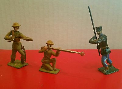 3 Soldiers Firing Rifle & @ Charge W/ Sword Heyde Loebel Britains Johillco