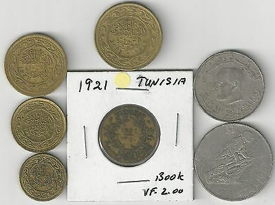 7 DIFFERENT COINS from TUNISIA (7 DENOMINATIONS/1921-2008)