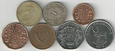 7 DIFFERENT COINS from UGANDA (7 DENOMINATIONS/1966-2012)