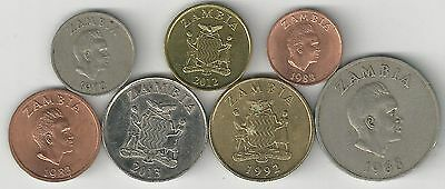 7 DIFFERENT COINS from ZAMBIA (7 DENOMINATIONS/6 with ANIMALS)
