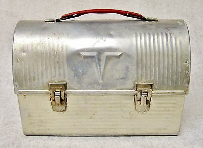 "Vintage ""v"" Thermos Aluminum Metal Dome Lunchbox Pail Red Handle"