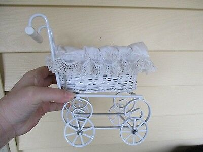 Vintage White Wicker Metal Baby Doll Carriage  Stroller Buggy Victorian Design