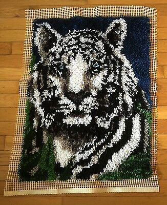 Latch Hook White Tiger Completed Frame It Hang It Create A Blanket Rug Decorate