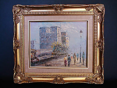 French Impressionist Street Scene Signed Original Oil Painting On Canvas
