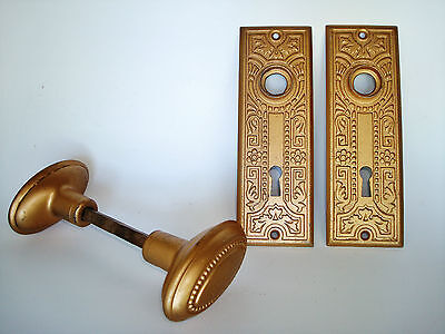 Salvaged Brass Beaded Oblong Door Knobs with Art Deco Key Hole Face Plate