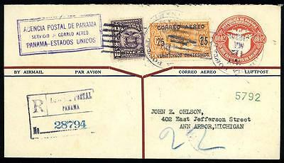 Panama C1a Inverted Surcharge Variety 1929 1st Flight Pan Am Reg Cover 4A7 006