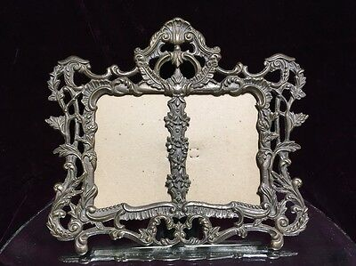 Antique Victorian Ornate Brass Bronze Easel Back Double Picture Frame
