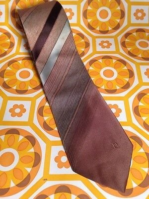 Pierre Cardin Vintage Tie - Brown and Blue polyester diagonal pattern