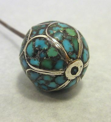 Antique Hatpin Inlaid Silver Turquoise Ball