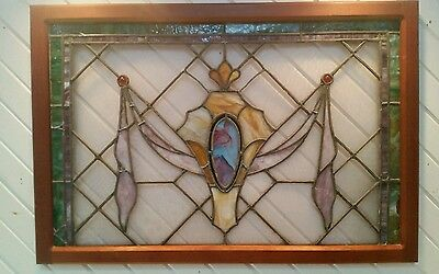 "Art Nouveau  English Antique Stained Glass Window Stunning In Frame 43"" × 29"""