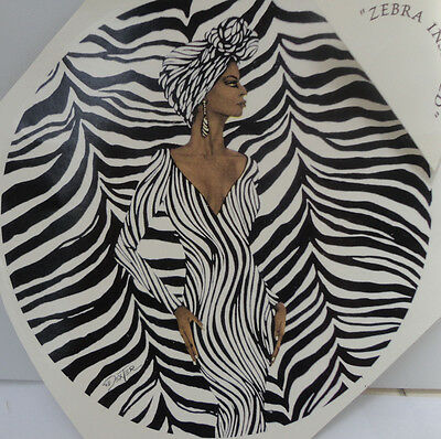 Ceramic Decal - 190mm  diam    ZEBRA LADY