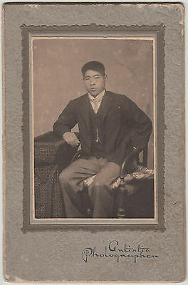 Antique Photo / Young Man in Suit / Japanese / Dated 1911