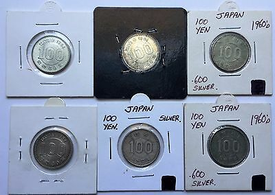 6 x 100 Yen Silver Coins lot 1960's Japan Tokyo olympic