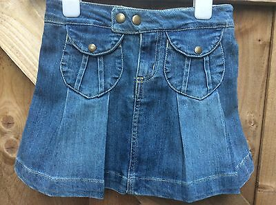 Girls Denim Skirt By Tu , Box Pleat Design Age  6 Years Adjustable Waist