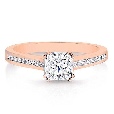1.30ct Delicated Diamond Solitaire Engagement Ring 14k Rose Gold Over