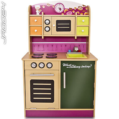 Wooden Child Kitchen Girls Kids Toddler Role Play Toy Fun Pretend House Cooking