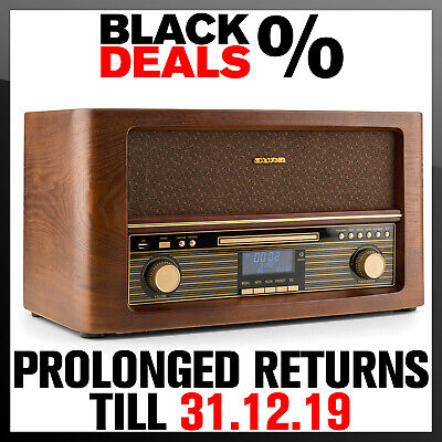 Retro Radio Stereo Speaker System DAB+ FM RDS Wireless Music CD MP3 Player USB
