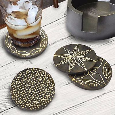 Wooden Drink Coasters, Wood Coaster Set, Hand engraved wooden coasters