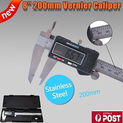 "8"" 0-200mm Electronic Digital Vernier Caliper Stainless LCD Gauge with Case"