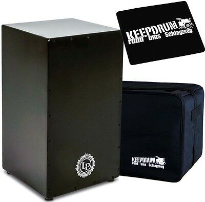 LP Latin Percussion LP1428NY Black Box Cajon + keepdrum Gig Bag + Pad CP-01