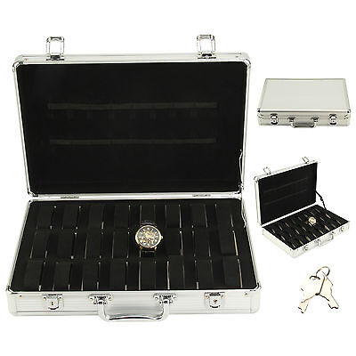 32 Aluminium Watch Storage Cases  Organiser Display Box With Pillows Holders