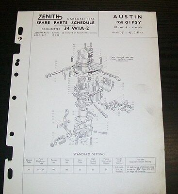 AUSTIN GIPSY 10cwt 4x4 TRUCK ZENITH 34 WIA-2 CARBURETTER  SPARE PARTS LIST.1958