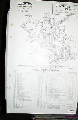 Coventry Climax Z Type Zenith 30Vm Carburetter Spare  Parts List Technical