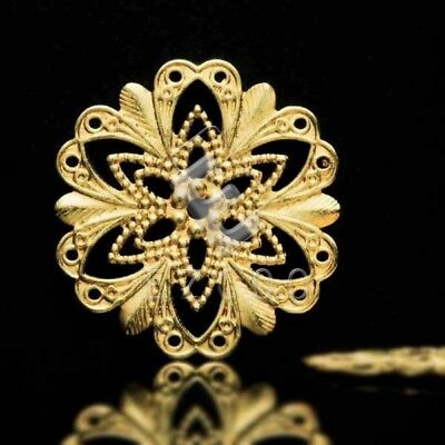 20pcs Gold Flower Cabochon Cameo Settings Connectors 20x20mm Raw Brass MB0561