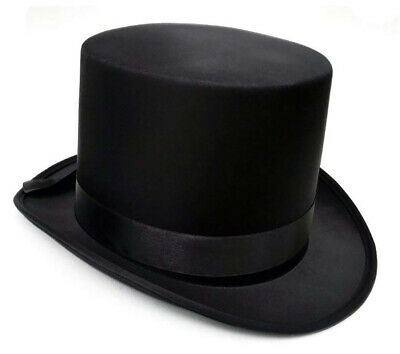 Deluxe Satin Black Top Hat For Fancy Dress Costume Hard Magician Hat New