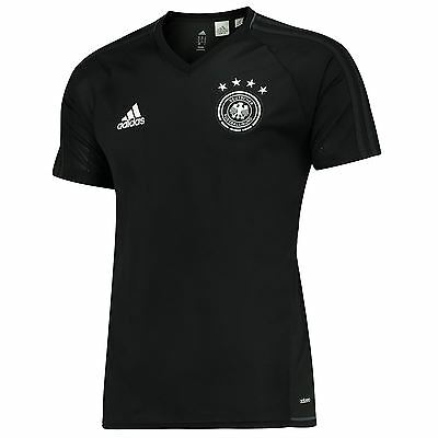 adidas Mens Gents Football Soccer Germany Training Shirt Jersey Top - Black