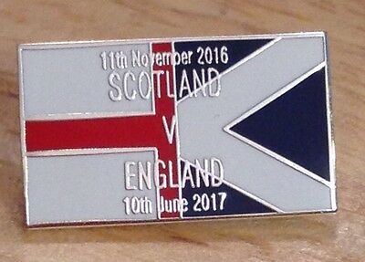 """Scotland V England,  World Cup """"Road To Russia"""" 2018 Pin Badge"""