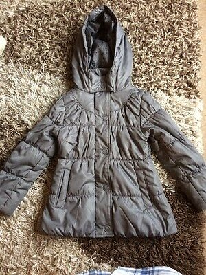 M&S Girls Grey Coat Size 5-6years With Hood