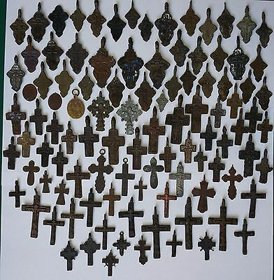 102 small  antique Russian Orthodox Cross, 18-19th Century