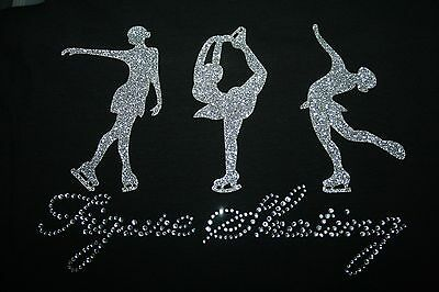 Iron On Glitter And Rhinestone Skating Motif For Jackets Bags Dress