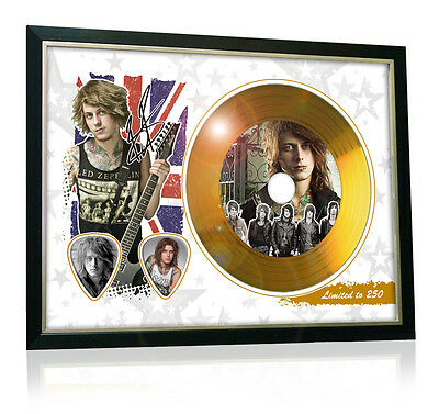 Ben Bruce Asking Alexandria Flag Style Signed Gold Disc Display